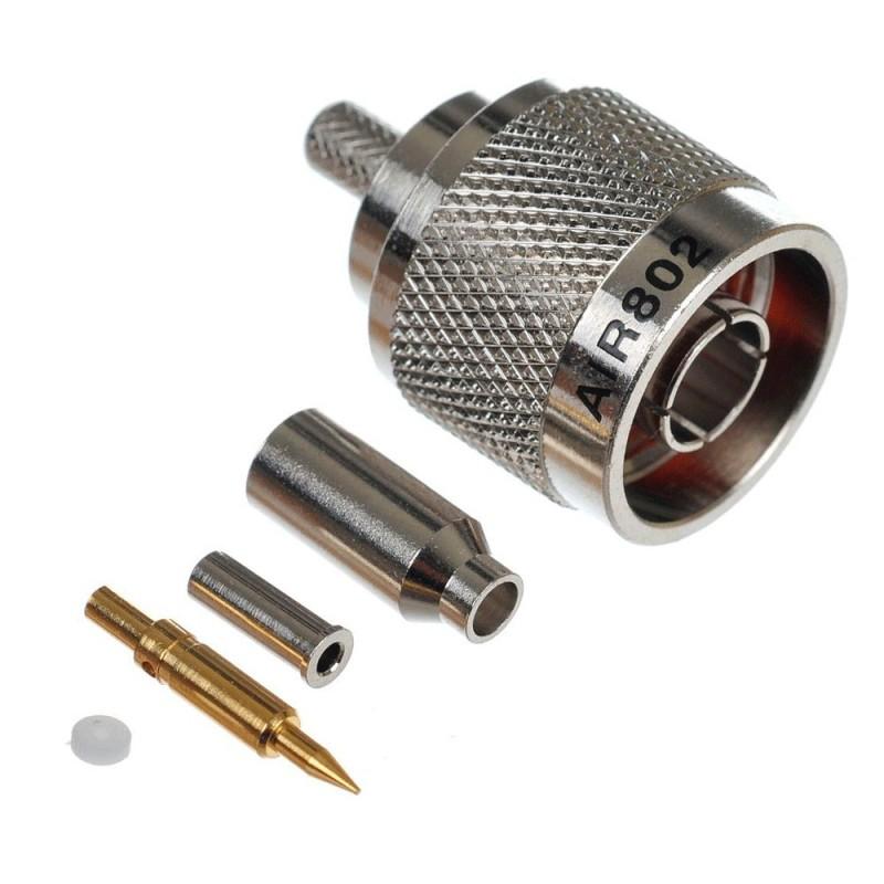 Коннектор N-type male на RG-174 (приборный, гайка, обжим)