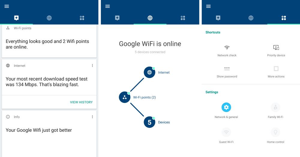 Интерфейс приложения Google wifi